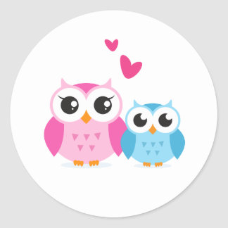 Cute cartoon owls with hearts classic round sticker