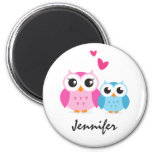 Cute cartoon owls with hearts personalized name 2 inch round magnet