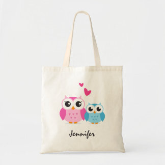 Cute cartoon owls with hearts personalized name budget tote bag