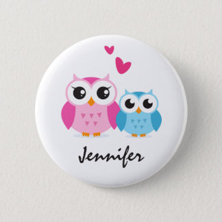 Cute cartoon owls with hearts personalized name button