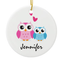 Cute cartoon owls with hearts personalized name ceramic ornament