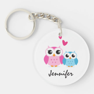 Cute cartoon owls with hearts personalized name Single-Sided round acrylic keychain