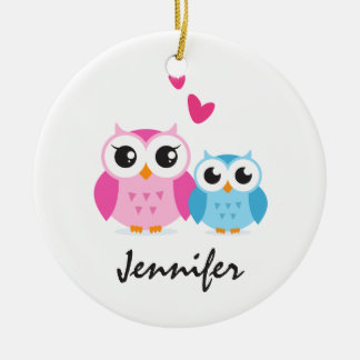 Cute cartoon owls with hearts personalized name Double-Sided ceramic round christmas ornament