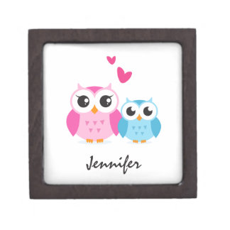 Cute cartoon owls with hearts personalized name premium trinket box