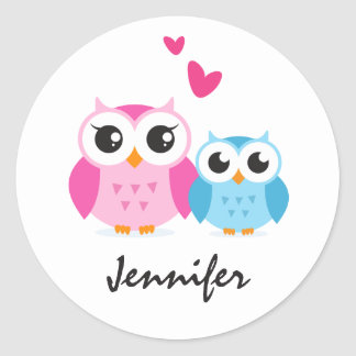 Cute cartoon owls with hearts personalized name sticker