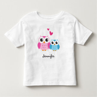 Cute cartoon owls with hearts personalized name toddler t-shirt