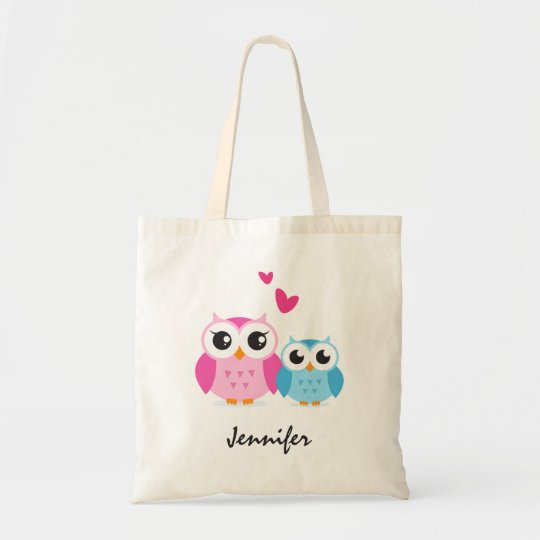 Cute cartoon owls with hearts personalized name tote bag