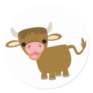 Cute Cartoon Ox sticker sticker