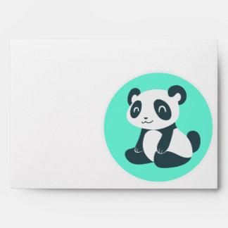 Cute Cartoon Panda Aqua Envelopes