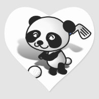 Cute Cartoon Panda Bear Golfing Heart Sticker