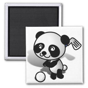 Cute Cartoon Panda Bear Golfing Magnet