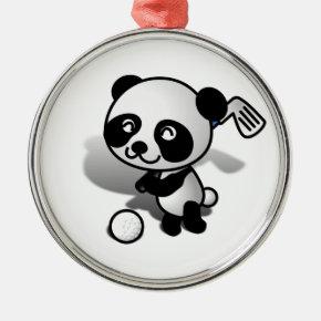 Cute Cartoon Panda Bear Golfing Metal Ornament