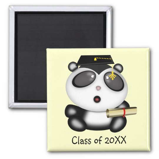 Cute Cartoon Panda Bear Graduate with Mortar Board Magnet
