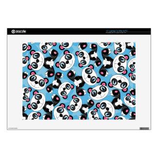 """Cute Cartoon Panda Bear Pattern 15"""" Laptop Skin"""
