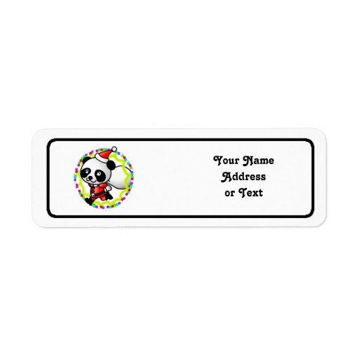 Cute Cartoon Panda Bear Santa Label