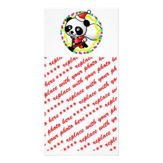 Cute Cartoon Panda Bear Santa Photo Card
