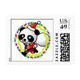 Cute Cartoon Panda Bear Santa Stamp