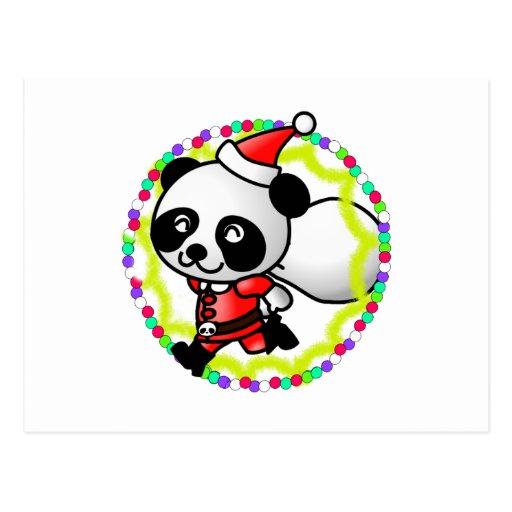 Cute Cartoon Panda Bear Santa Postcard