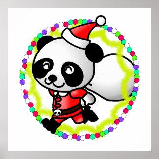 Cute Cartoon Panda Bear Santa Posters