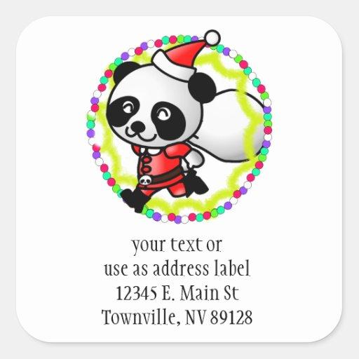 Cute Cartoon Panda Bear Santa Square Sticker