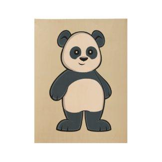 Cute Cartoon Panda Custom Wood Poster