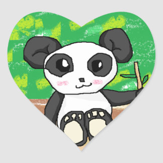 cute cartoon panda heart sticker