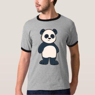 Cute Cartoon Panda Men's Ringer T-Shirt