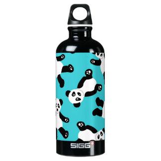Cute Cartoon Panda Print - Blue Water Bottle