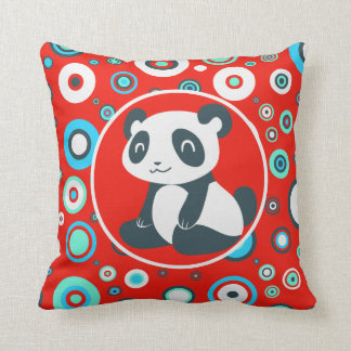 Cute Cartoon Panda Red Whorls Throw Pillows