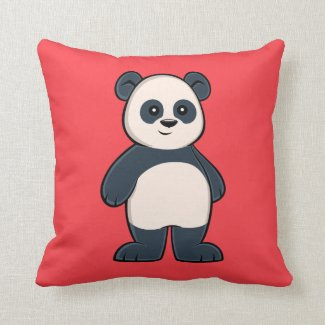 Cute Cartoon Panda Throw Pillow