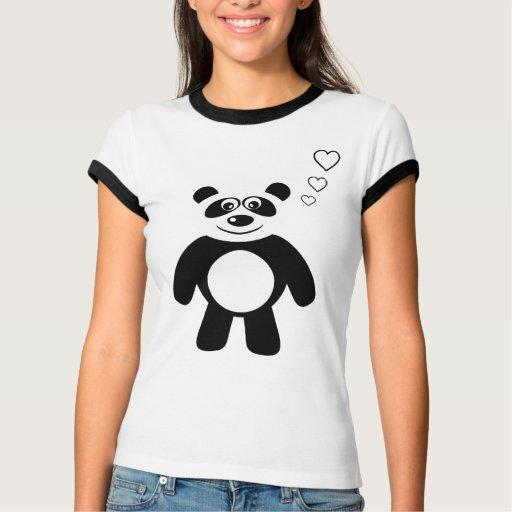 Cute Cartoon Panda With Hearts Tees
