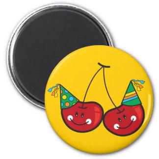 Cute Cartoon Party Cheeky Red Cherries Fun Magnet