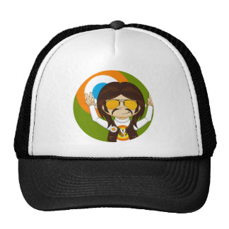 Cute Cartoon Peace Hippie Trucker Hat