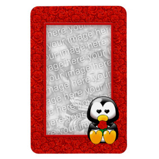 Cute Cartoon Penguin and Red Roses Photo Magnet