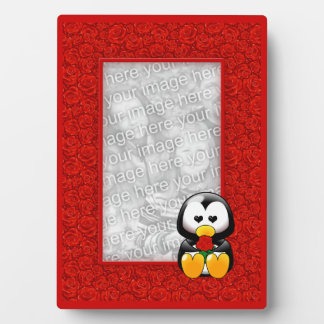 Cute Cartoon Penguin and Red Roses Photo Plaque