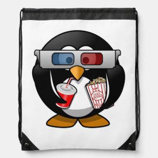 Cute Cartoon Penguin at the Movies Drawstring Bag