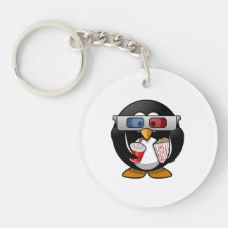 Cute Cartoon Penguin at the Movies Keychain