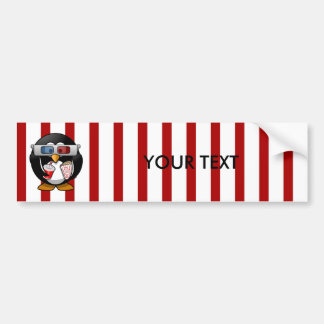 Cute Cartoon Penguin at the Movies With Stripes Bumper Sticker