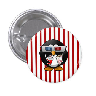 Cute Cartoon Penguin at the Movies With Stripes Button