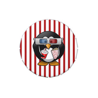 Cute Cartoon Penguin at the Movies With Stripes Candy Tin