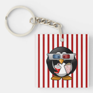 Cute Cartoon Penguin at the Movies With Stripes Keychain