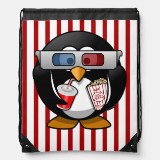 Cute Cartoon Penguin at the Movies With Stripes Drawstring Bags