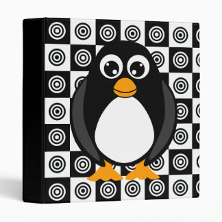 Cute Cartoon Penguin Black and White Binder
