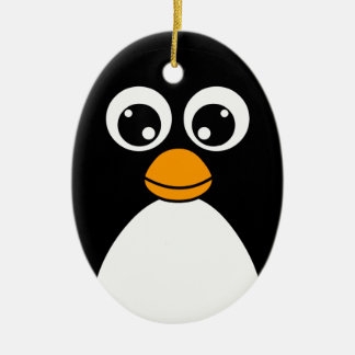 Cute Cartoon Penguin Black and White Ceramic Ornament