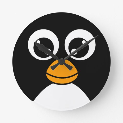 Cute cartoon penguin black and white clock