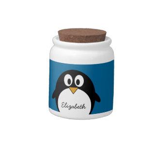cute cartoon penguin blue background candy jars