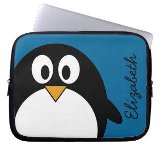 cute cartoon penguin blue background computer sleeve