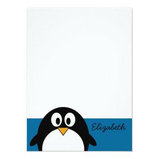 cute cartoon penguin blue background invite