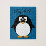 cute cartoon penguin blue background jigsaw puzzle