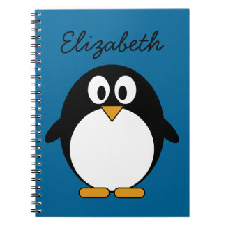 cute cartoon penguin blue background note book